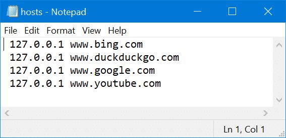 chan trang web tren windows bang file hosts 4