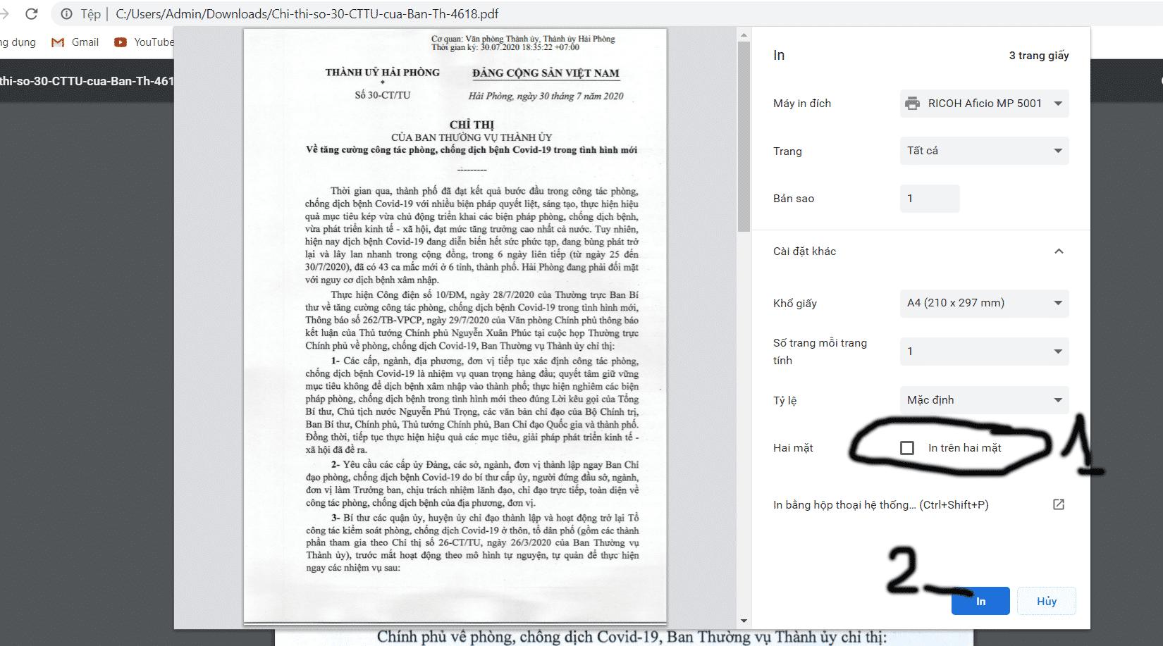 In 2 mặt pdf bằng google chorme