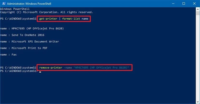 uninstall printer powershell win10