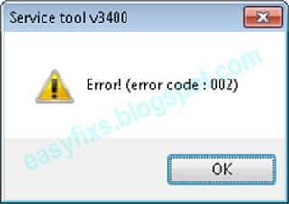 Mã lỗi: 002