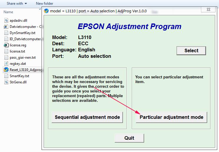 Reset Epson L3110 nhanh chong