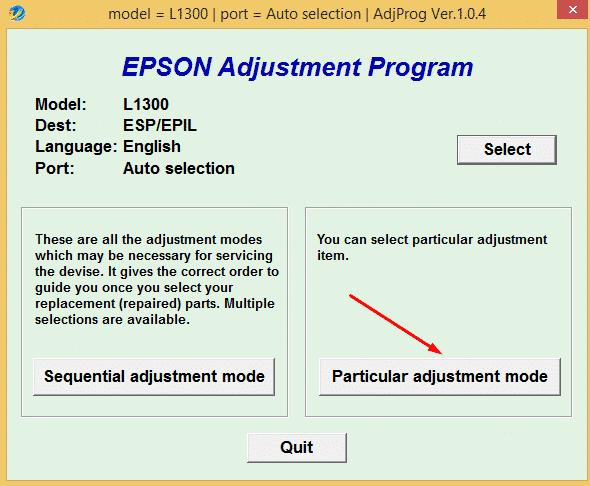 Reset máy in Epson L1300 miễn phí