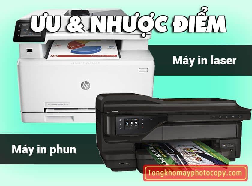 ƯU & NHƯỢC ĐIỂM máy in phun và laser