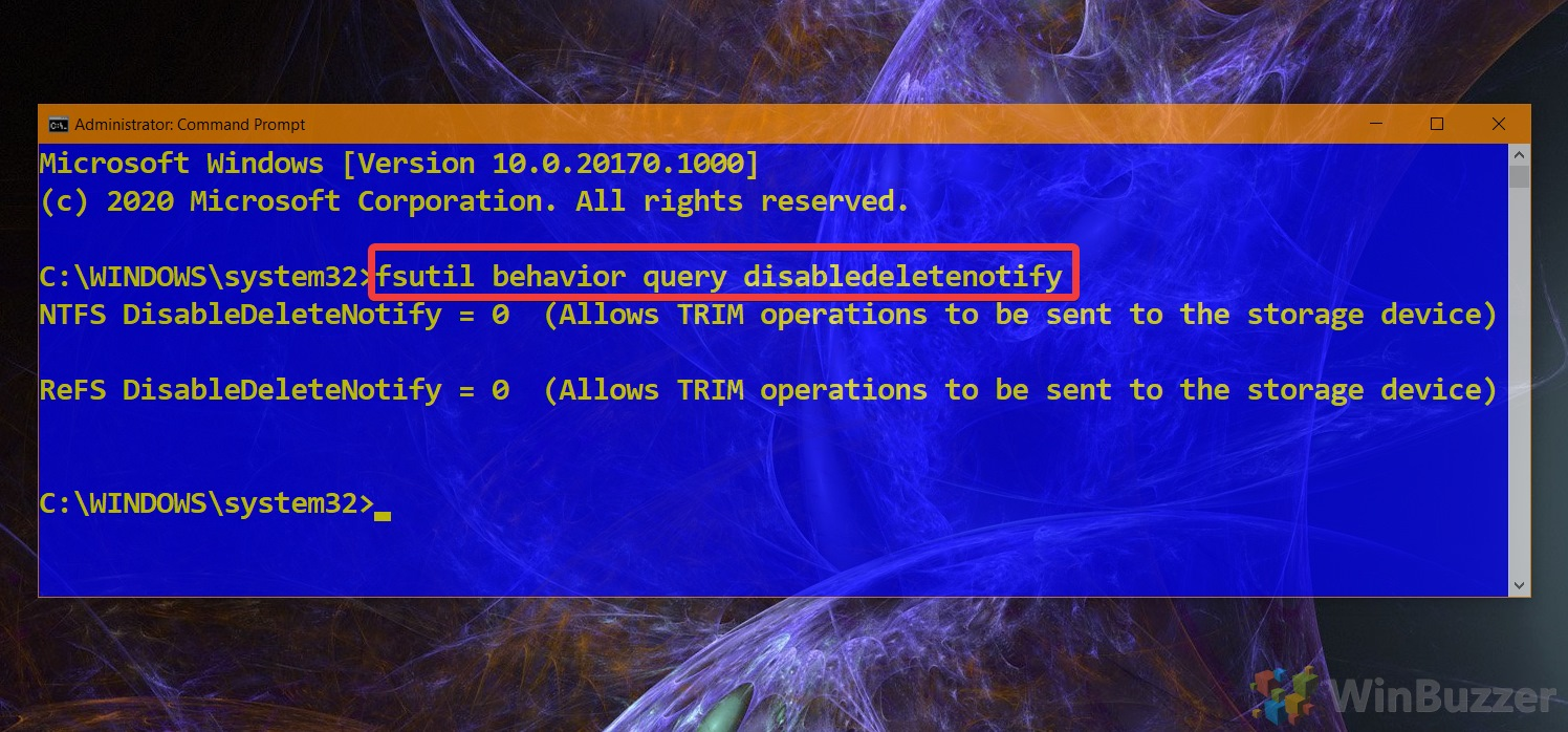 01.2 Windows 10 Elevated Command Prompt Command to Check Current Status