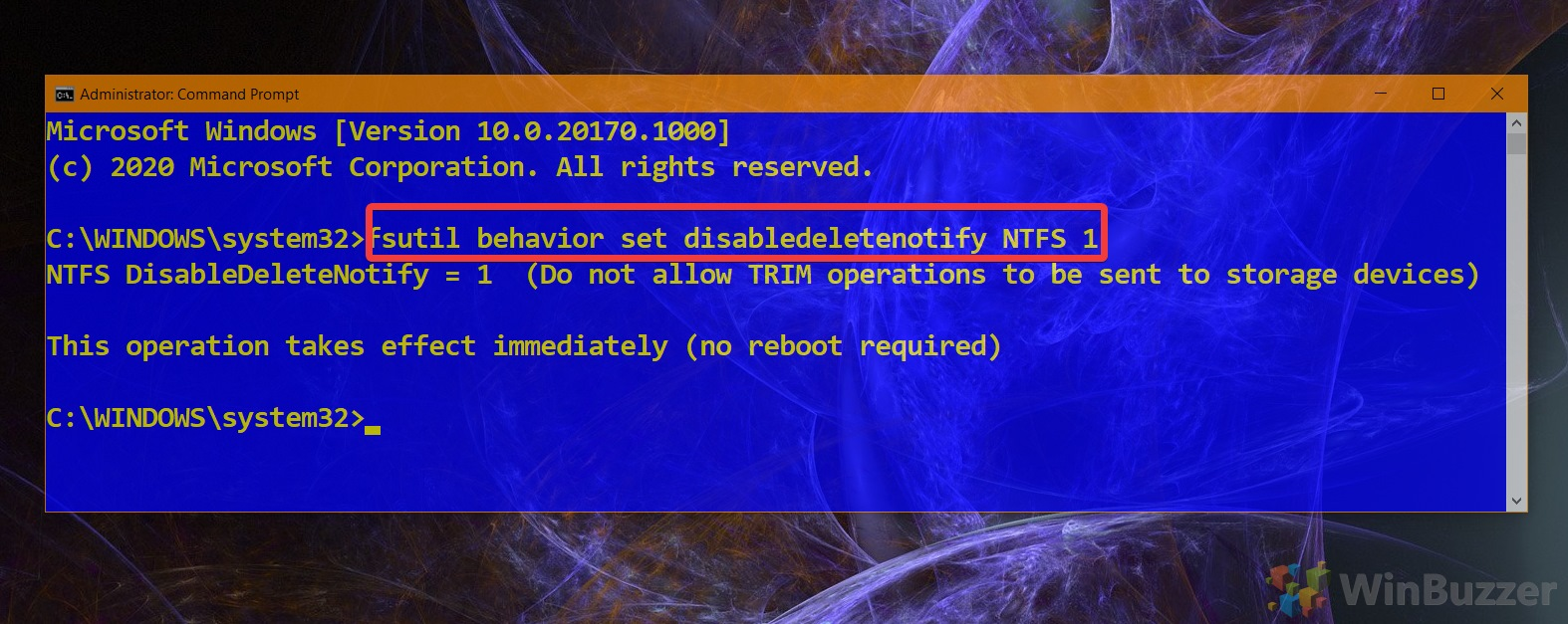 01.3 Windows 10 Elevated Command Prompt Command to Disable Trim NTFS