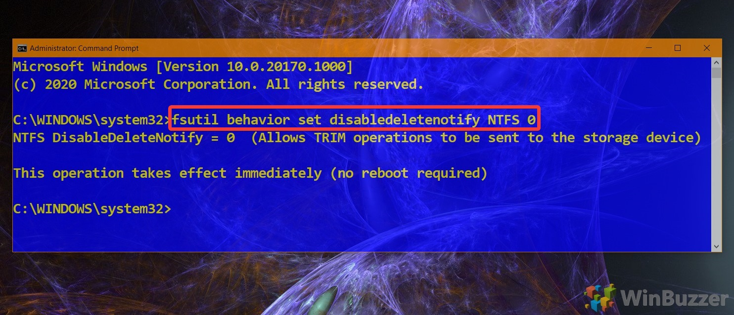 01.4 Windows 10 Elevated Command Prompt Command to Enable Trim NTFS 1 1