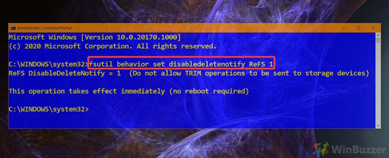 01.5 Windows 10 Elevated Command Prompt Command to Disable Trim ReFS