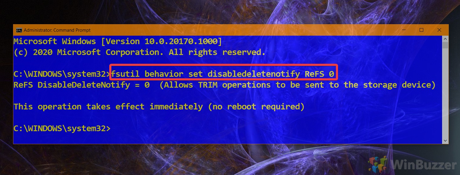 01.6 Windows 10 Elevated Command Prompt Command to Enable Trim ReFS